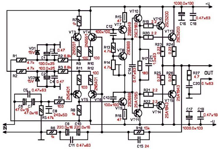 Схемы автомобильных усилителей мощности: Схемы стационарных усилителей...